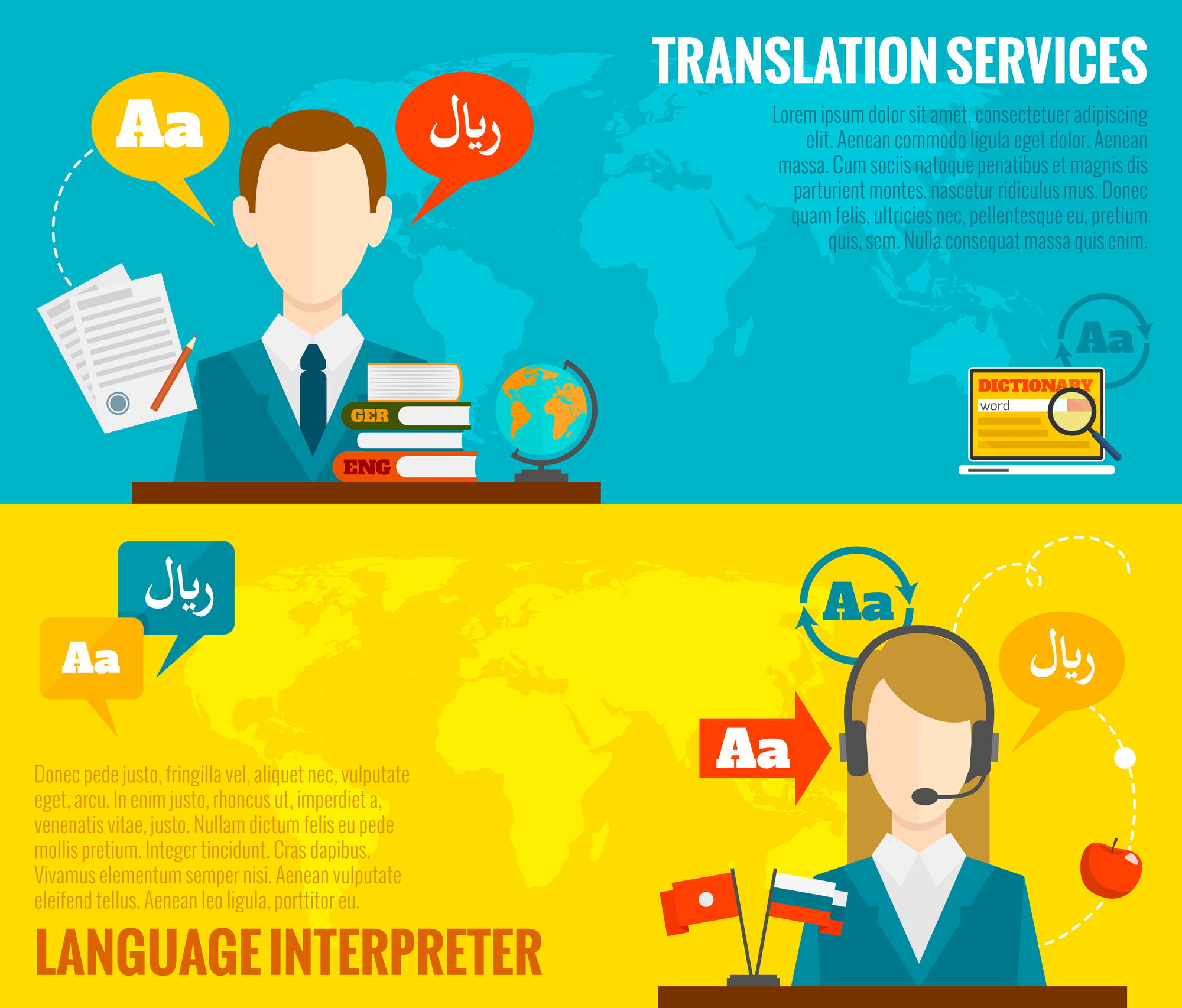 Face to face synchronic translation services and international court legal interpreting flat banners set abstract vector illustration